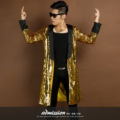 gold long sequin blazer jacket overcoat topcoat outwear male clothes singer dancer performance prom ds party show bar nightclub
