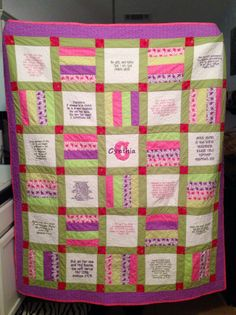 Scripture quilt I made using my embroidery machine to make the scripture blocks
