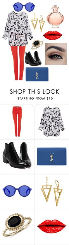 """""""RED"""" by worthen-ava on Polyvore featuring J Brand, Melissa McCarthy Seven7, Yves Saint Laurent, Etnia Barcelona, Blue Nile, Paco Rabanne, women's clothing, women, female and woman"""