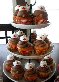 nursing school graduation party ideas   nurse hat cupcakes from my nursing school graduation party