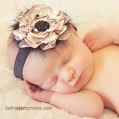 "You can now ""CUSTOM"" order this headband   pink and black  vintage inspired headband perfect for your new lil sweet pea GREAT photo prop. $12.99, via Etsy."