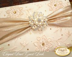 Traditional Wedding Guest Book Elegant Pearl Clic Ivory Gold Formal Fl