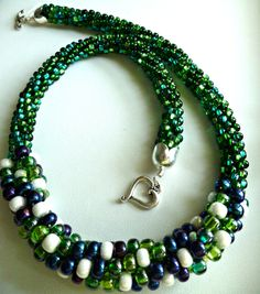Beaded Kumihimo necklace blue green white mini-cluster, statement necklace, beaded necklace by TheBeckoningCat on Etsy