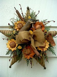 Autumn Decorating with Burlap | ... -DECOR-GREEN-TICKING-STAR-FALL-SUNFLOWERS-CATTAILS-CROW-BURLAP-BOW