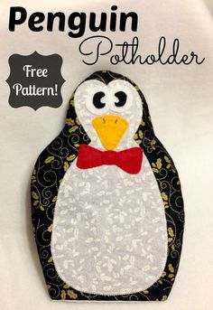 Penguin Potholder free sewing pattern and tutorial