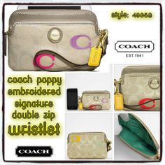 'Coach Poppy Embroidered Signature Double Zip Wristlet' is going up for auction at  2pm Fri, Jan 10 with a starting bid of $1.