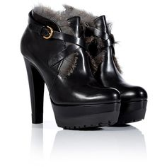 SERGIO ROSSI Black Leather Booties With Fur Trim (965 AUD) ❤ liked on Polyvore featuring shoes, boots, ankle booties, heels, ankle boots, chunky heel boots, black leather bootie, leather booties, leather ankle boots and black booties