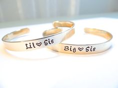 Big Sis & Lil Sis Hand Stamped Gold Cuff Bracelet - Sister Jewelry - Sorority Girl Bracelets - Set of 2 Matching Bracelets - Best Friends