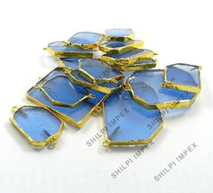 Shining Gems! 5Pc Wholesale Lot Blue Topaz Hydro Brass Fashion Jewelry Connector