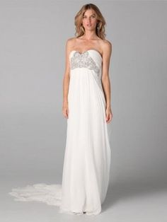 2013 Style A-line Sweetheart  Beading  Sleeveless Floor-length Chiffon White Prom Dress