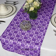 Lace Wedding Table Runner  Purple by floratouch on Etsy, $8.00