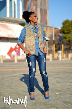 Khanyi rocks fur. Snapped by Anthony Bila. #Streetstyle