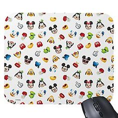 Mickey and Minnie team up with another mouse to make computing more fun. Together with some close friends, Mickey is pictured as a cute Emoji pictogram on this customizable mouse pad.