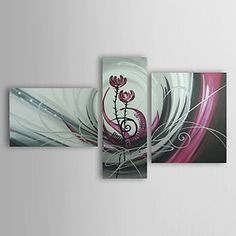 Hand-painted Floral Oil Painting on Canvas Wall Art - Set of 3