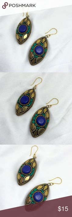 """🆕Green and Blue Brass Earrings A pair of Brass earrings with bright green turquoise and a faux Lapis stone in the middle. Each is 2"""" x 1"""". They are thick and have some weight to them; I placed them on large fish hooks to better distribute the weight for easier wear. In very good condition; some signs of wear but other very bright and unusual! From an Estate collection. Jewelry Earrings"""