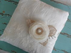 Rustic Ring Bearer Pillow, Wedding Accessory, Ivory Lace Ring Pillow, Woodland Ring Pillow, Floral Wedding Pillow,Rustic/Country/Shabby Chic by therusticcharmer on Etsy https://www.etsy.com/listing/240708871/rustic-ring-bearer-pillow-wedding