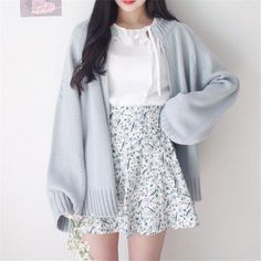 Fashion - Spring Sweater Coat Open Stitch Knit Jacket Solid Color Cardigan For Women Casual Sweaters Top Jackets Japanese Cardigan Cardigans from Women's Clothing & Accessories on Aliexpress com Ali Teen Fashion Outfits, Mode Outfits, Girly Outfits, Cute Casual Outfits, Fasion, Pretty Outfits, Casual Clothes, Women's Casual, Korean Outfits Cute