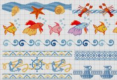Sea Life Cross stitch border