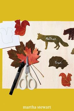 This place card idea is perfect for kids to keep busy with around the Thanksgiving table: simply download our animals template, trace the shapes over a colorful variety of leaves, cut, and reinforce with clear tape, if needed. Use a silver paint pen to make names pop. #marthastewart #crafts #diyideas #easycrafts #tutorials #hobby Christmas Deco, Christmas And New Year, Christmas Crafts, Animal Templates, Leaf Crafts, Ways To Recycle, Silver Paint, Paint Pens, Place Card