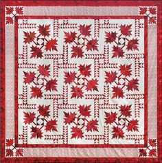 This beautiful quilt featuring intricate maple leaves and flying geese celebrates our Northern Neighbours. You'll use Deb's Corner Beam, Split Rects, and Wing Clipper 1 tools to make this captivating quilt. Star Quilts, Quilt Blocks, Quilting Projects, Quilting Designs, Quilting Tutorials, Canadian Quilts, Quilts Canada, Flying Geese Quilt, Two Color Quilts