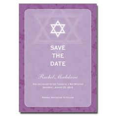 Round Orchid Frame Save The Date Bat Mitzvah Card Bars Bar