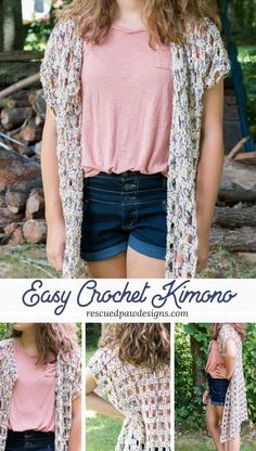 Crochet a simple crochet kimono today! Use this free pattern and get started right away! Free Pattern by Rescued Paw Designs www.rescuedpawdesigns.com #crochet #freepattern #crochetkimono via @rescuedpaw