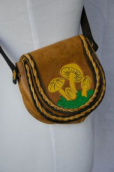 Vintage 1970's 'Shroomin Tooled Leather Purse by BeehausVintage