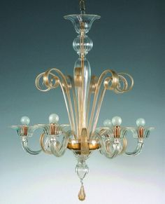 Crystal and Gold Murano Glass Chandelier