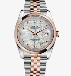 Rolex Datejust 36 mm Watch: White Rolesor - combination of 904L steel and 18 ct white gold – M116244-0007