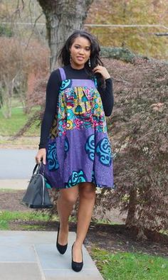 KIRA Dress - Purple/Multi - African Print