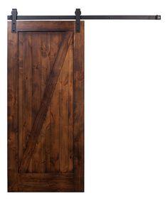 Loving this Brown 3' x 7' Z Barn Door & Flat Black Industrial Hardware on #zulily! #zulilyfinds
