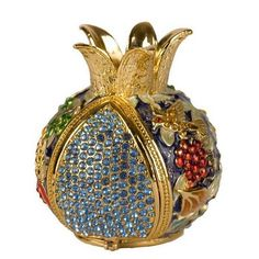 Enameled and Jeweled Hinged Pomegranate Havdallah Spice Box – 7 Species (Blue) from Israel