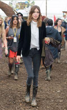 Alexa Chung attends the Glastonbury Festival at Worthy Farm on June 28, 2014 in Glastonbury, England