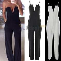 XD# Womens V Neck Strapless Sleeveless Bodycon Jumpsuit Playsuit Romper Clubwear #Unbranded #Jumpsuit
