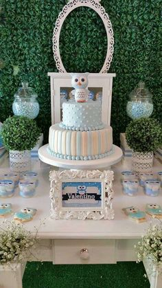Adorable cake at an owl baby shower party! See more party planning ideas at CatchMyParty.com!