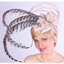 Beige Feather Fascinator-Dramatic Fascinator from HAT-A-TUDE.com
