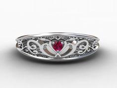 Heart filigree, Pink Diamond ring, White gold, wedding band, filigree, heart diamond,  Diamond wedding band, Pink wedding band, Pink. $990.00, via Etsy.