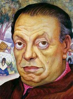 Autoportrait de Diego Rivera vieilli...