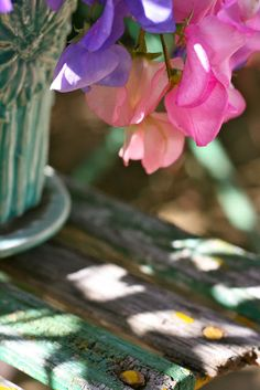 love sweetpeas (love the shadows on the table)