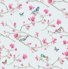 Kira (98123) - Albany Wallpapers - An elegant, all over wallpaper design featuring a delicate trail of blossoms and garden birds, with metallic highlights. Shown here in the powder blue colourway. Other colourways are available. Please request a sample for a true colour match. Paste-the-wall product.