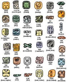 Maya glyphs and translations Ancient Symbols, Ancient History, Viking Symbols, Egyptian Symbols, Viking Runes, Mayan History, Aztec Symbols, Reiki Symbols, Spiritual Symbols