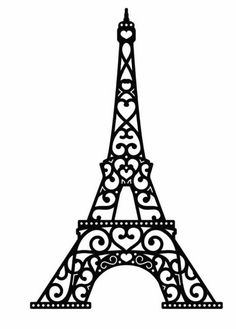 eiffel tower in black lace with hearts on a white background Kirigami, Paris Birthday Parties, Paris Party, Tour Effel, Machine Silhouette Portrait, Silhouette Cameo Software, Stencils, Journal Stickers, Paper Quilling