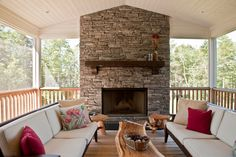 Image result for screened in deck with fireplace