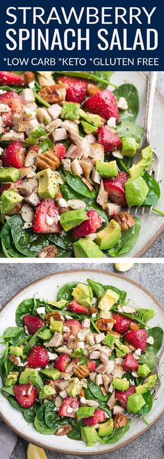Strawberry Spinach Salad with Avocado Chicken and a dairy free Lemon Poppyseed Dressing made with fresh greens creamy avocado sweet strawberries pecans and fresh herbs. A healthy low carb & keto-friendly lunch or light dinner. Options for paleo vegan Avocado Spinach Salad, Spinach Strawberry Salad, Avocado Salat, Avocado Chicken, Keto Avocado, Chicken Spinach Salads, Strawberry Salad Recipes, Dressing For Spinach Salad, Cauliflowers