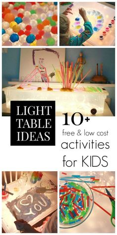 Free and cheap light table activities for kids that are also fun and educational... Plus a DIY light table that is super easy and inexpensive!