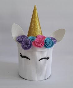 Diy Birthday, Unicorn Birthday, Unicorn Party, Tin Can Crafts, Diy And Crafts, Paper Crafts, Craft Gifts, Diy Gifts, Panda Craft