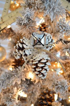 Jingle Bell Pinecone Ornament  - CountryLiving.com