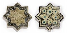 Description: THREE KASHAN LUSTRE TILES, IRAN, LATE 13TH CENTURY Of eight-point form, underglaze painted in cobalt and lustre, the first with a central four-point lobed design on a square, a band of naskh to outer border; the second with central design of a pheonix on a lustre ground with cobalt band of naskh to outer border; the third with design of a deer on a vegetal ground, with cobalt designs to outer border - largest 8 1/8in (20.5cm) diameter (3)