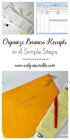 Organizing your business receipts doesn't have to be difficult or time consuming. You can record, organize, and store them with just a few steps, and they'll be ready to use when you file your taxes in April. Here's how to organize business receipts in 4 simple steps! | Calyx and Corolla