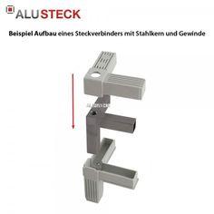 Rechter Winkel 25 x 25 mm Steckverbinder Vierkantrohr